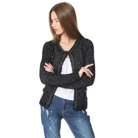 Women's Black Knitted Jacket With Chunky Chain Trim