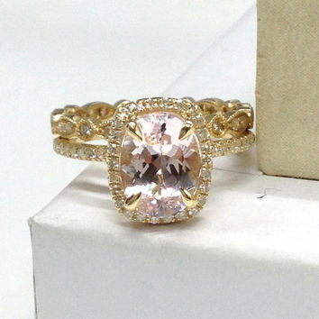Wedding Ring Set!Morganite Engagement Ring,Diamond Full Eternity Band,14K Yellow Gold,7x9mm Oval Morganite,Milgrain Art Deco Matching Band