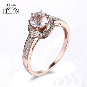HELON 1.55ct Sapphire 10K White Gold Pave Natural Diamond Engagement Ring for Women