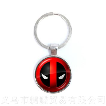 Deadpool Keychains 25mm Round Glass Dome Handmade Fashion Pendant Of Men Women Children Personalized Gift For Cartoon Lover