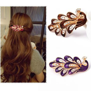 Coloful Resin Peacock Shiny Rhinestones Top Hair Clips Women Girls Barrettes Hair Accessories Hairpins Korean