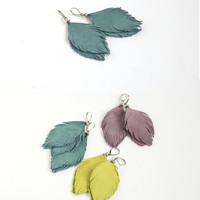 Leather or suede feather earrings in smoky blue, lemon or smoky violet