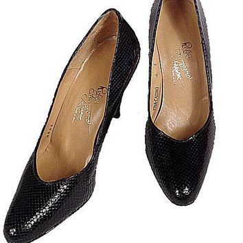 VTG Shoes  Pumps Navy Snakeskin Rosina Ferragamo Womens Sz 6 1980 NOS