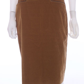 LORO PIANA Corduroy Leather Trimmed Pockets Chestnut Cotton Skirt Size 42