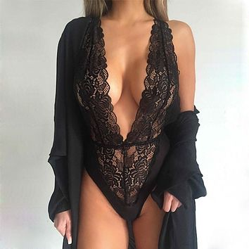 Women Sexy One Piece Lingerie Hollow Floral Lace Halter Backless Teddies Sleepwear Nightwear