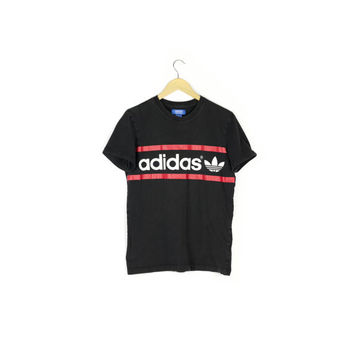 basic ADIDAS tee / black and white t-shirt / red stripes / trefoil double logo / athletic / cyber health goth / mens small - medium