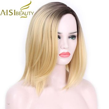 AISI BEAUTY Short Blonde Ombre Straight Synthetic Wigs for Women Cosplay wigs 13 Colors Hair Free shoulder length