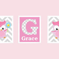 Monogram Letter and Name, Pink and Gray, Owls Gray Chevron, CUSTOMIZE YOUR COLORS, 8x10 Prints, set of 3, nursery decor print art baby decor