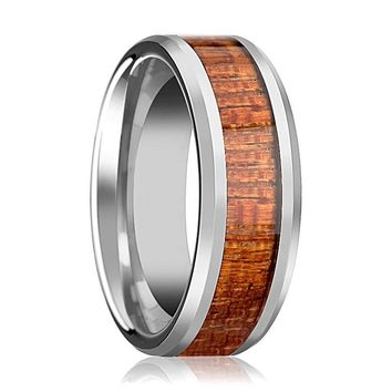 Tungsten Wood Ring - Exotic Mahogany Hard Wood - Tungsten Wedding Band - Polished Finish - 4mm - 6mm - 8mm - 10mm - Tungsten Wedding Ring