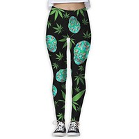 Skull Flamingo Plants Weed Cannabis Women's Slim Workout Full Length Yoga Pant Skinny Leggings Pants XL