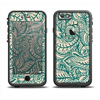 The Delicate Green & Tan Floral Lace Apple iPhone 6 LifeProof Fre Case Skin Set