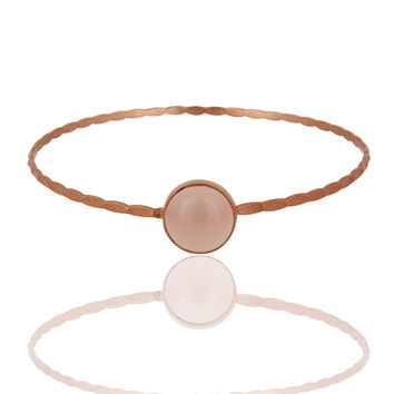 18K Rose Gold Vermeil 925 Sterling Silver Rose Chalcedony Gemstone Bangle