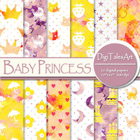 "Baby girl watercolor digital paper ""Baby Princess"" clipart papers in pink yellow white, scrapbook baby patterns, watercolor background"