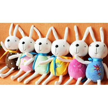 6Colors For Choice SIZE 16CM Rabbit Plush Stuffed TOY DOLL ; Keychain String Pendant TOY ; Bouquet DOLL Wedding Gift TOY