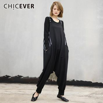 CHICEVER Jumpsuit For Women Sleeveless Suspender Loose Oversize Harem Jumpsuits Female Fashion Casual Clothing Tide