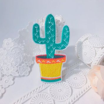 Potting cactus patch ,iron on patch ,embroidered patch ,plants patch ,jacket patch , cartoon patch, DIY