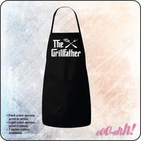 The GRILLFATHER Apron • Great for BBQs, baking, cookoffs, or just grilling in the backyard • Great gift • 2 front pockets, adjustable ties