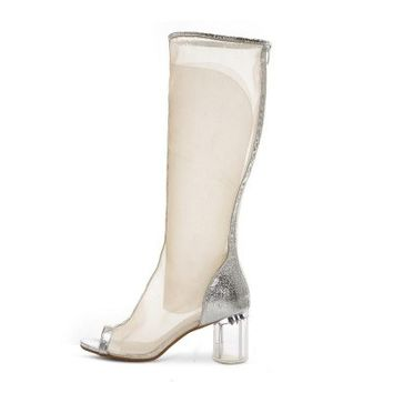 POSH GIRL Silver Mesh Open Toe High Boots