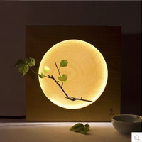 Elegant Style Wooden Table Lamp Creative Home Decoration Bedside Reading Lamp Night Light Moon Shape