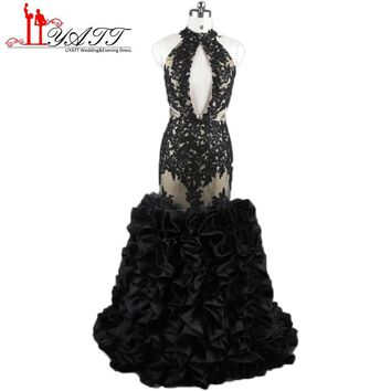 Fashion Black Girl Prom Dresses 2017 Sexy Backless Lace Applique Mermaid Ruched Formal Evening Party Dresses Real Photo ZY307