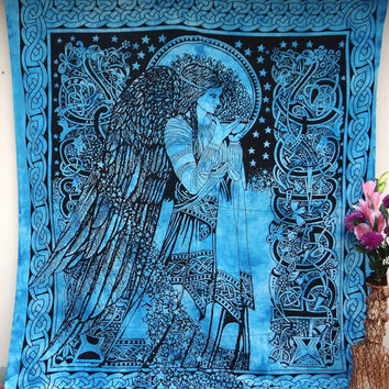 Blue LARGE ANGEL TAPESTRY,Cotton Tapestry Wall Hanging, Indian Tapestry Bedspread,Hippie Tapestry, Bohemian Throw Ethnic Home Decorative Art