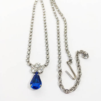 Eisenberg Ice Rhinestone Blue Tear Drop Necklace, Vintage 1950s 1960s Wedding Jewelry, Quinceanera & Sweet 16 Choker