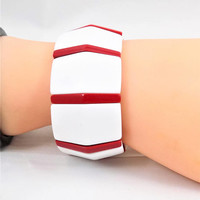 Red and White Stretch Bracelet, Wide Panel Plastic Bracelet, 1980's Big Jewelry