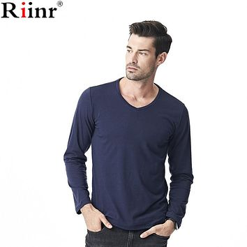 Fashion New Arrival T-Shirt High Quality Casual Bottom Solid Color Cotton Blends V-Neck Long Sleeve T shirt Men