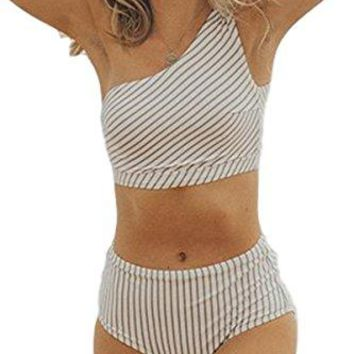 Womens Blue White Breezy Stripe Two Piece SwimsuitOne Shoulder Swimwear Bathing Suit Sold Seperately