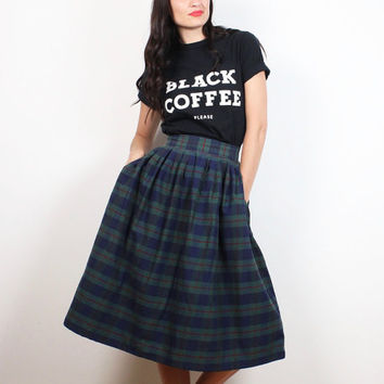 Vintage 80s Skirt Navy Blue Green Red Plaid Skirt Preppy high Waisted Midi Skirt Soft Grunge Kilt School Uniform 1980s Knee Skirt S Small