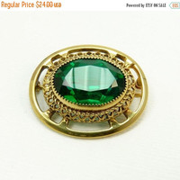 Vintage Gold Plated and Green Crystal Rhinestone Brooch