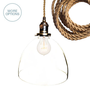 "8"" Clear Hand Blown Glass Pendant Light- Ship Rope Cord"