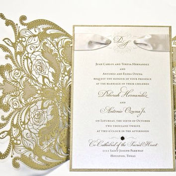 100 vintage lace floral wedding invitation the great gatsby - Great Gatsby Wedding Invitations