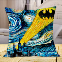 Batman Starry Night Van Gogh on Square Pillow Cover