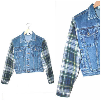 stone wash GRUNGE denim jacket / 90s look UPCYCLE plaid flannel sleeve JEAN jacket small