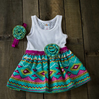 Aztec print 12 month baby girl dress