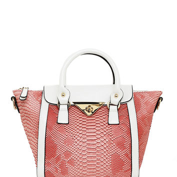 Rose & White Croc Pattern Tote Bag
