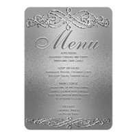 Dinner Menu | Silver Shimmer Elegance Card