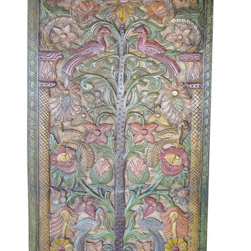 Vintage Indian BUDDHIST Carved Door Panel Wish-fulfilling divine tree hand carving CONSCIOUS Design Colorful Floral Bohemian Decor