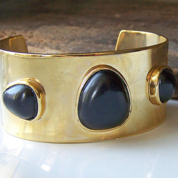 Etsy, Etsy Jewelry, Vintage Monet Cuff with Black Lucite Cabochons,  Gold Cuff Bracelet, Vintage Cuff Bracelet, MONET