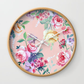 Floral pattern 2 Wall Clock by printapix