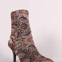 Qupid Floral Brocade Kitten Heeled Ankle Boots