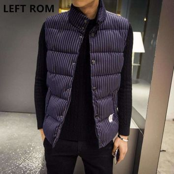 LEFT ROM Men's 2017 cotton vest striped collar size thick warm winter Business casual fashion cardigan high quality Button S-5XL