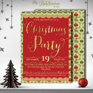 Christmas Party Invitation, Glitter Gold, Digital Printable Invitation, Holiday Party Invite, Holiday Card | DIY INSTANT DOWNLOAD