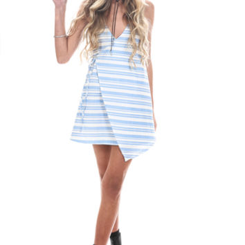 DYLAN MINI WRAP DRESS // BLUE STRIPE