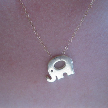 Gold elephant, lucky necklace, elephant necklace , simple everyday jewelry, bohemian inspired, animal necklace, cute dainty necklace