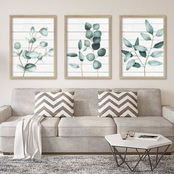 Silver Dollar Eucalyptus Wall Art Canvas or Prints Watercolor Painting Eucalyptus Plant Wall Decor, Minimalist Art Botanical Artwork Set 3