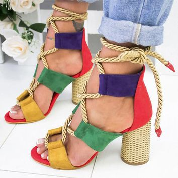Women Sandals Wedge Espadrilles Summer Shoes Woman 7CM High Heels Sexy Gladiator Women Heels Sandals Lace Up Platform Sandals