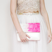 MIA 4 / Ombre linen fabric & Metallic leather folded clutch with magnet clousure - Ready to Ship