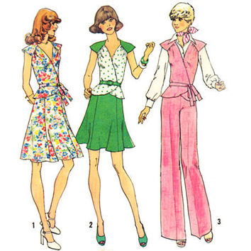 Vintage Sewing Pattern 70 Peplum Wrap Blouse by mysweetiepiepie